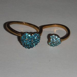 Jewelry - Double Hearts Fashion Ring-Blue